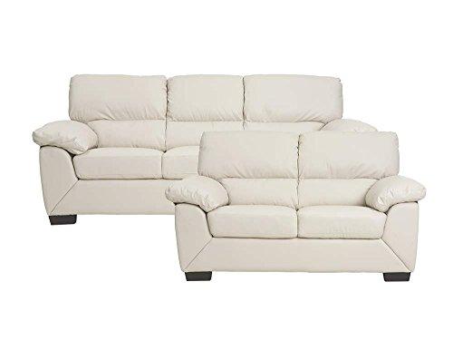 3-Sitzer Sofa RICA in creme Couch Couchgarnitur Wohnlandschaft Ledercouch