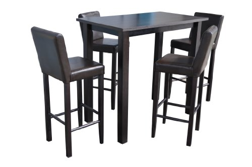 4 barhocker mit bartisch set essgruppe stehtisch dunkelbraun bistrotisch 120x70x110cm lbh holz. Black Bedroom Furniture Sets. Home Design Ideas
