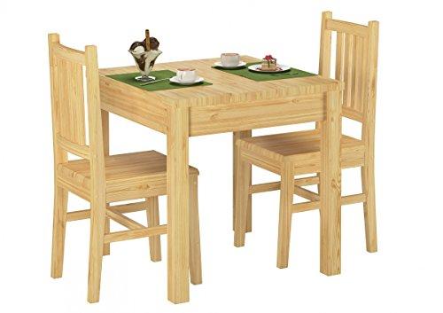 90.70-52 Set Schöne Essgruppe mit Tisch und 2 Stühle Kiefer Massivholz