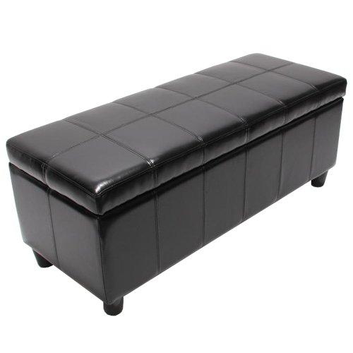 Bank Sitzbank MIT Aufbewahrung Kriens Leder + Kunstleder 112x45x45cm ~ schwarz