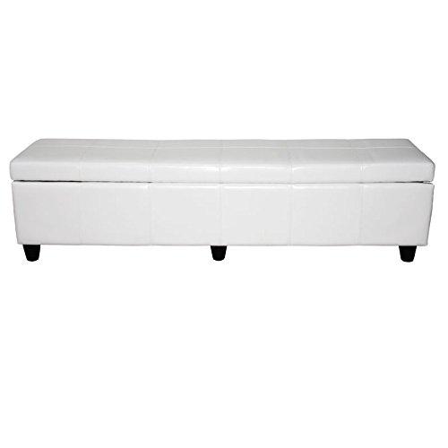 Bank Sitzbank mit Aufbewahrung Kriens XXL, Leder + Kunstleder, 180x45x45cm ~ weiß