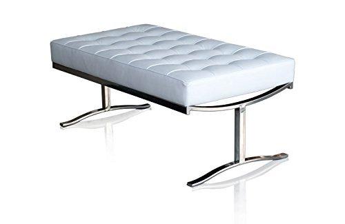 Bauhaus Leder Bank Sitzbank Echtleder Fuß Edelstahl poliert. Abbildung in Leder Weiß (Echtleder)