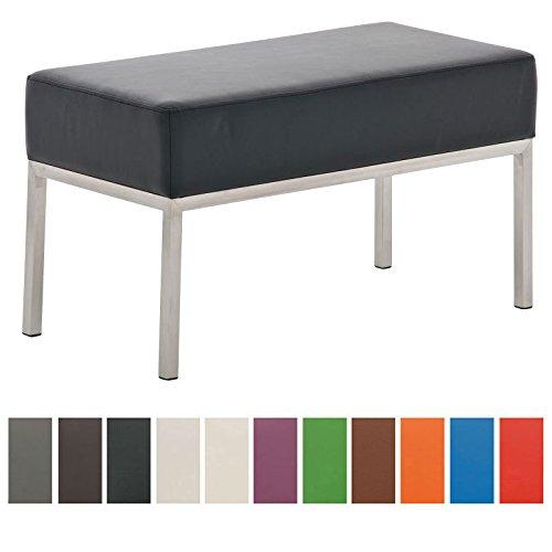 CLP Edelstahl Küchen-Bank LAMEGA, 80 x 40 cm, gepolstert, Kunstleder, modern, 2er Sitzbank Esszimmer, Küche, Flur, Gastro