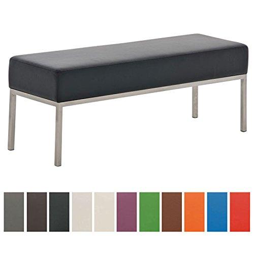 CLP 3er Edelstahl Sitzbank LAMEGA, 120 x 40 cm, geposltert, Kunst-Leder Bank modern für Esszimmer, Küche, Flur, Gastro