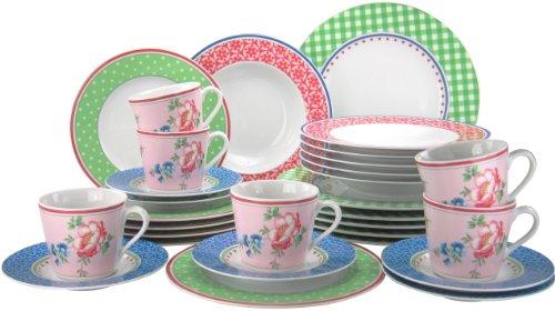 Creatable 16377 Serie Country Vintage, Kombiservice, 30-teilig, Porzellan, mehrfarbig, 42 x 33 x 36 cm, 30 Einheiten