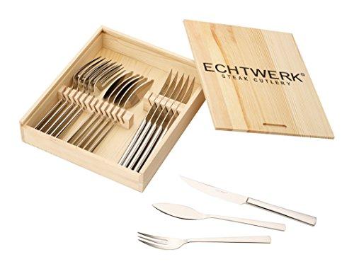 """Echtwerk EW-SB-0565 Steakbesteck """"Sarre"""" Set, Edelstahl 18/10 poliert inklusive Holzkassette, 18 Einheiten, 22,7 x 22 x 5 cm"""