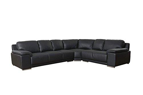 Ecksofa SARA in schwarz Couchgarnitur Ledercouch Wohnlandschaft