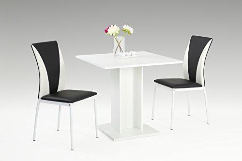 Essgruppe, Sitzgruppe, Essgarnitur, Esszimmergarnitur, Esstisch, Stühle, Esszimmertisch, Küchentisch, schwarz, weiß, Kunstleder, Säulentisch