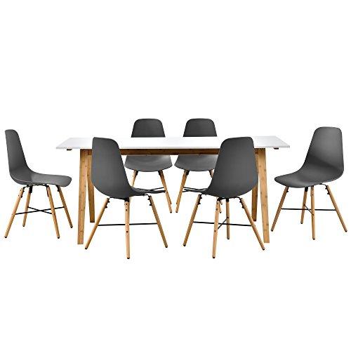 Esstisch in weiß (Bambus) mit 6 Stühlen