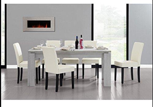 Esstisch und Stuhlset Weiß,GRAVOG 1 x Spanplatte EICHE DUNKEL 180x95 + 6 Gepolstert Polsterstühle Dunkelgrau Esszimmerstühle Garnitur Stuhl Tisch