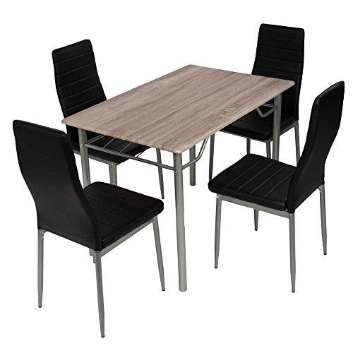 Esstischgruppe Tischgruppe Sitzgruppe mit 4 Stühlen und Esstisch 110x70 cm,schwarz