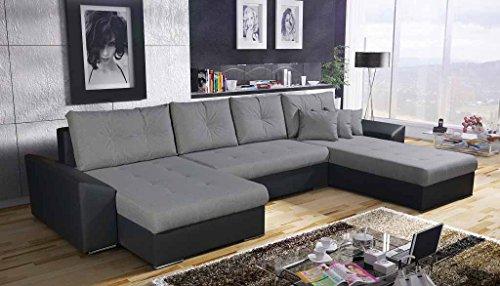 Helsinki Wohnlandschaft Uform mit Bettfunktion Schlaffunktion, 2x Bettkasten, Schlafcouch Sofa Couch Eck Garnitur, Schenkelmaß 216x380 cm