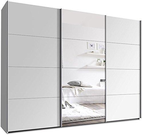 kleiderschrank mit schwebet ren b h t 270 x 220 x 69 cm wei mit spiegelt r m bel24. Black Bedroom Furniture Sets. Home Design Ideas