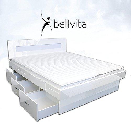 Original bellvita Mesamoll II Wasserbett mit Schubladensockel in Komforthöhe, Bettumrandung mit fachgerechtem Aufbau, ALLE Größen frei wählbar, NEU Hochglanz weiss