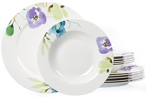 Ritzenhoff & Breker 035865 Tafelservice Fiorano aus Fine China Porzellan, 12-teilig