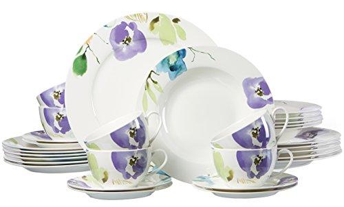 Ritzenhoff & Breker 035872 Kombiservice Fiorano aus Fine China Porzellan, 30-teilig