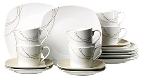 Ritzenhoff & Breker 082777 Kaffeeservice Linda, 18-teilig, Porzellangeschirr, weiß/creme