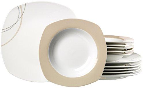 Ritzenhoff & Breker 082784 Tafelservice Linda, 12-teilig, Porzellangeschirr, weiß/creme