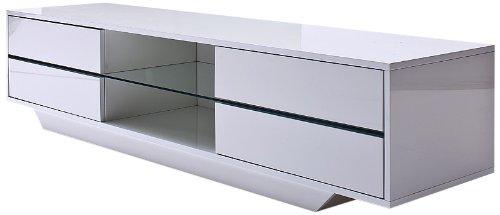 Robas Lund TV Lowboard Mediaboard Blues Hochglanz weiß LED Wechselbeleuchtung 160 x 40 x 36 cm