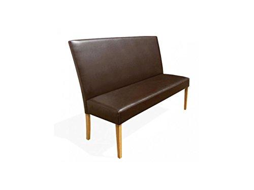 SAM® Esszimmer Sitzbank Bari, 120 cm, in braun mit buche-farbigen Beinen aus Pinien-Holz, Sitzbank mit Rückenlehne aus Samolux®-Bezug, angenehmer Sitzkomfort, frei im Raum aufstellbare Bank