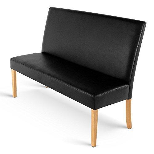 SAM® Esszimmer Sitzbank Sancho IV, 200 cm, in schwarz mit buche-farbigen Beinen aus Pinien-Holz, Sitzbank mit Rückenlehne aus Samolux®-Bezug, angenehmer Sitzkomfort, frei im Raum aufstellbare Bank