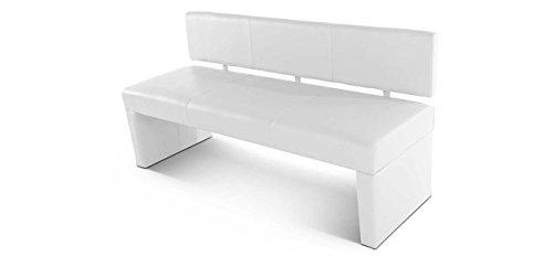 SAM® Esszimmer Sitzbank, 125 cm, in weiß, Sitzbank mit Rückenlehne aus Samolux®-Bezug, angenehmer Sitzkomfort, frei im Raum aufstellbare Bank [53258447]