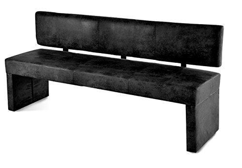SAM® Esszimmer Sitzbank in grauer Wildlederoptik, 200 cm Breite, Sitzbank mit pflegeleichtem SAMOLUX® Bezug, angenehmer Sitzkomfort, frei im Raum aufstellbare Bank mit Rückenlehne [53258487]