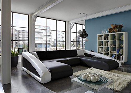 SAM® Sofa Garnitur Ciao Wohnlandschaft schwarz / schwarz / weiß Ottomane rechts 205 x 355 x 250 cm U - förmig Couch komfortabel modisches Design