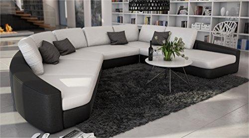 SAM® Sofa Garnitur in weiß - schwarz DOMENCIA designed by Ricardo Paolo® 380 x 290 cm Wohnlandschaft zeitlos modern Kissen inklusive Ottomane links