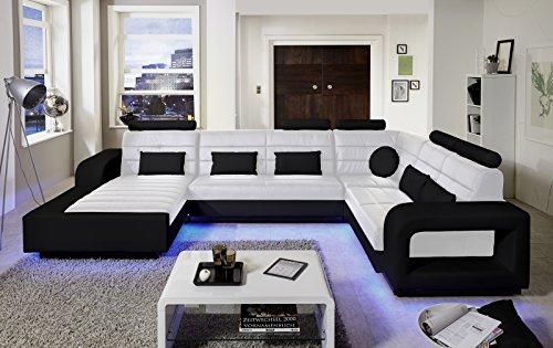 SAM® Design Wohnlandschaft New York mit LED Beleuchtung in Weiß & schwarz inkl. Kissen, abgestepptes Design, bequeme Polsterung, pflegeleicht, futuristisches Design