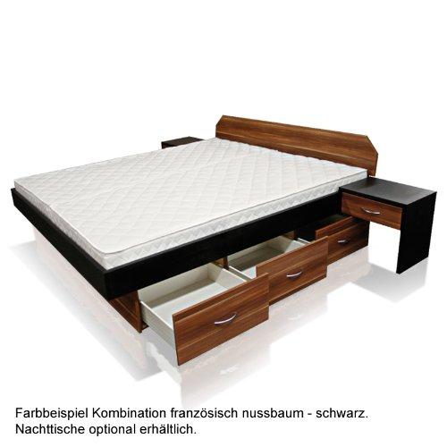 SONDERAKTION bellvita Mesamoll II Wasserbett mit Schubladensockel in Komforthöhe und Bettumrandung französisch nussbaum mit schwarz kombiniert, mit Aufbau, 180 cm x 200 cm
