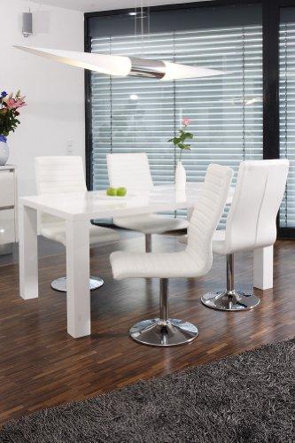 SalesFever Essgruppe Tisch 160x90cm weiß mit 4 Stühlen Lio aus Kunstleder Luke
