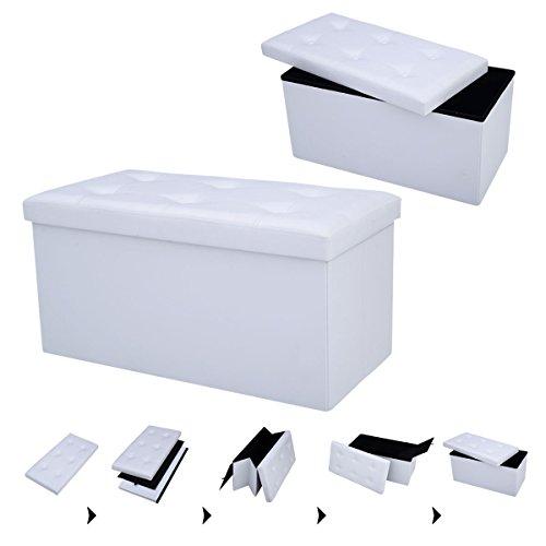 Sitzhocker Sitzbox faltbar Sitzbank Sitzwürfel Sitztruhe Sitzkasten Polsterhocker Leder Truhe Aufbewahrungsbox Fuß Bank 76 x 38 x 38cm