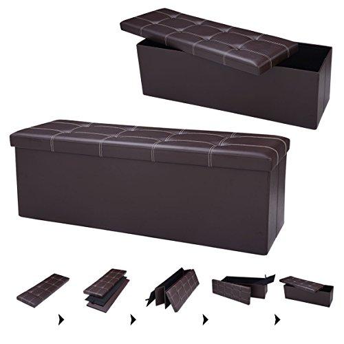 Sitzhocker Sitzwürfel Sitzbox faltbar Sitzbank Sitztruhe Sitzkasten Polsterhocker Leder Truhe Aufbewahrungsbox Fuß Bank 114 x 38 x 38cm