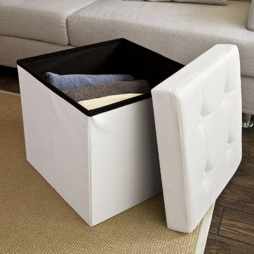 SoBuy Sitzkasten, Sitzbank, Sitztruhe, Sitzbox, Sitzelement, Wäschekorb, Lederoptik, zusammenfaltbar, FSS16