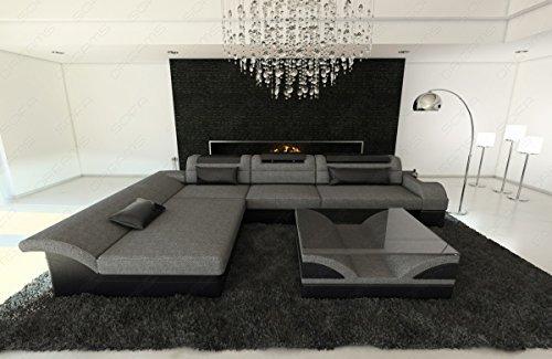 Stoff Mix Sofa Monza L-Form grau - schwarz