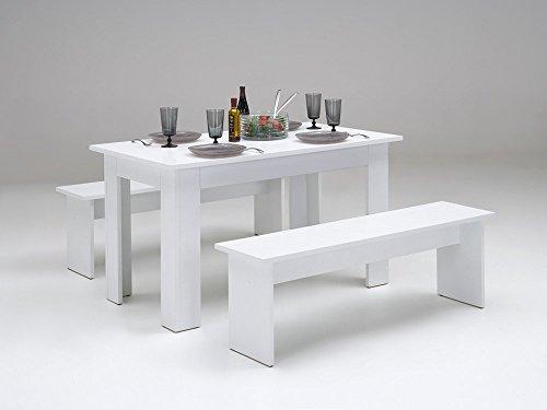 tischgruppe mit bank esstisch esszimmer tisch k chentisch bank cosmos weiss m bel24. Black Bedroom Furniture Sets. Home Design Ideas