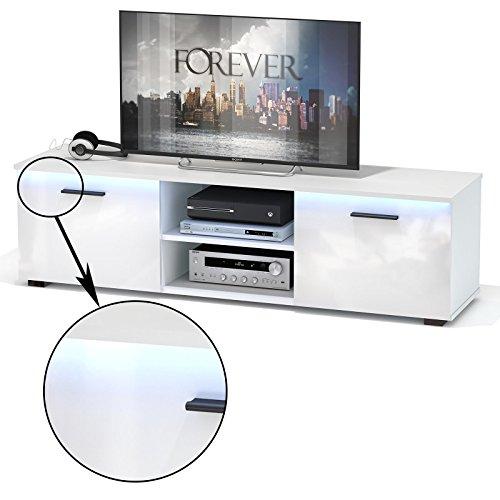 TV Lowboard Bank MALIBU in hochglanz weiß mit LED Beleuchtung 150 cm Fernsehschrank