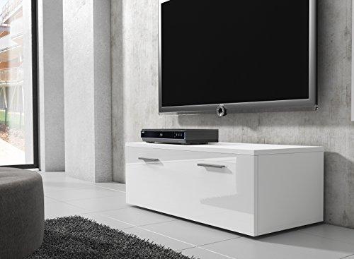 TV Möbel Lowboard Schrank Ständer Boston Korpus weiß/Front weiß Hochglanz 100 cm