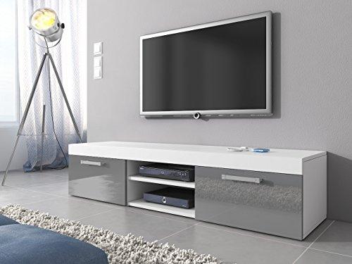 TV Möbel Lowboard Schrank Ständer Mambo weiß matt/grau hochglanz 160 cm