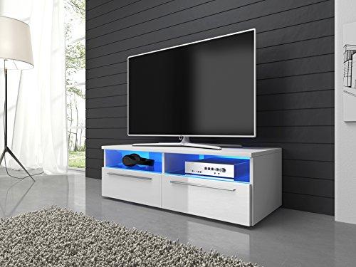 TV Möbel Lowboard Schrank Vannes 100 cm mit LED-Beleuchtung, mattes weiß/ Hochglanz weiß