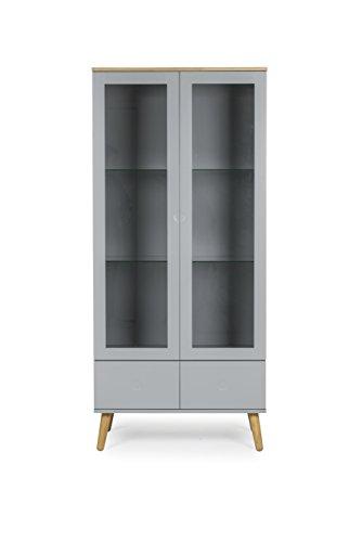 Tenzo 1670-612 Dot Designer Vitrine Holz, grau / eiche, 43 x 79 x 178,5 cm