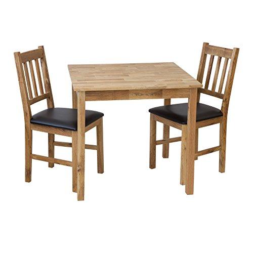 Tischgruppe LUCCA Tisch 80 x 80cm + 2 Stühle Eiche massiv