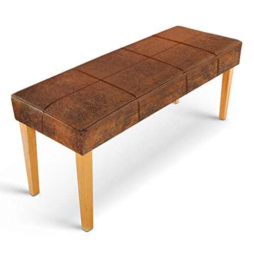 XXS® Esszimmer Sitzbank ohne Rückenlehne Enzio bezogen mit Stoff in Wildlederoptik aus massiver, geölter Kernbuche 110 x 38 x 48 cm