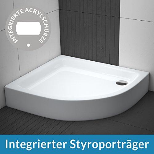 AQUABAD® Duschwanne Comfort Forta Plus R55 Viertelkreis Asymmetrisch Linksversion