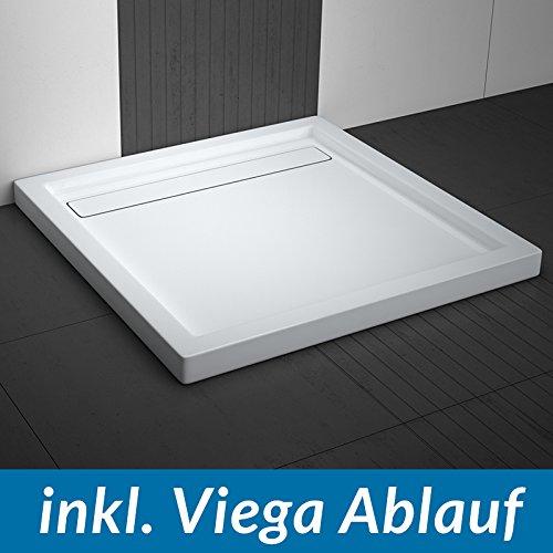 AQUABAD® Duschwanne Comfort Linea Flat Quadrat inkl. Viega Domoplex Ablauf