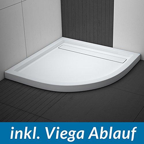 AQUABAD® Duschwanne Comfort Linea Flat Viertelkreis inkl. Viega Domoplex Ablauf