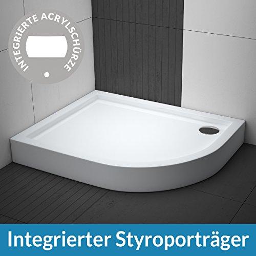 AQUABAD® Duschwanne Comfort Ultima R55 Viertelkreis Asymmetrisch