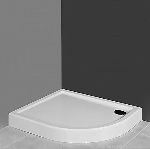AQUABAD® Duschwanne/Duschtasse Viertelkreis Asymmetrisch 80x100x14cm R55 Links