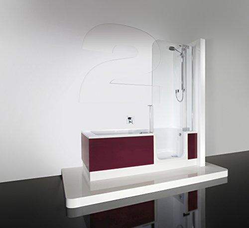 Artweger Twinline 2 Dusch Badewanne mit Duschzone 170 cm Duschabtrennung weiss